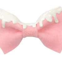 Pink Fairy Kei Melty Icing Dip Felt Hair Bow with White Icing Free Shipping