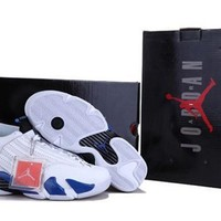 Cheap Air Jordan 14 Retro Men Shoes White Blue