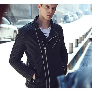 Leather Jacket Men New Suede jackets Men's Fashion Faux Leather Coats Casual Outwear