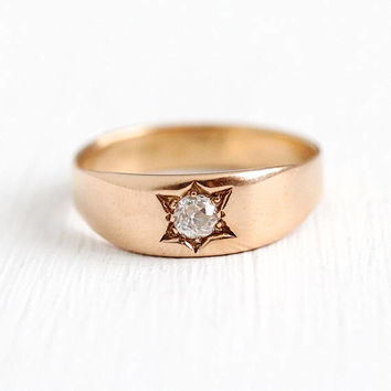 Antique Diamond Ring - 14k Rose Gold Star Incised Old Mine Cut Solitiare Dated 1889 - Size 8 Vintage Victorian Era Engagement Fine Jewelry