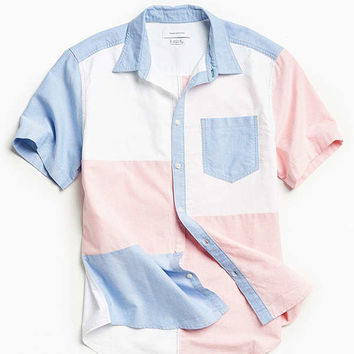 UO Patchwork Oxford Short Sleeve Button-Down Shirt | Urban Outfitters