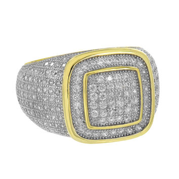 Sterling Silver Mens Ring Simulated Diamonds Yellow Gold Finish