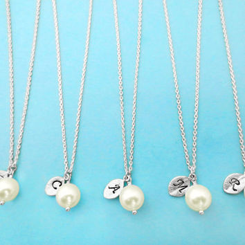 Set of 8, 8mm CREME Pearl, Initial, Necklaces, One, Pearl, Necklace, Single, Pearl, Pendant, Necklaces, 8 Bridesmaids, Necklaces