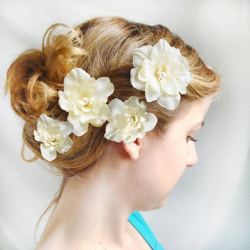 ivory flower hair pins wedding flower hair by thehoneycomb on Etsy