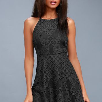 Charlotte Charcoal Grey Lace Skater Dress