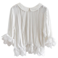 White Peter Pan Collar Lace Hem Blouse Blouse - Choies.com