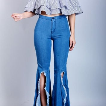 Slitted High Waist Bell Bottoms
