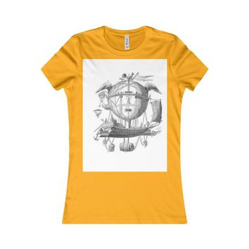 Women's Favorite Tee Hot Air Balloon Flying Airship Art Print