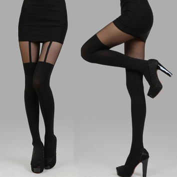 Black Bow Deco Garter Tights