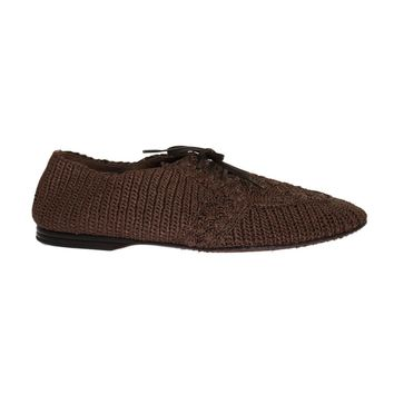 Dolce & Gabbana Brown Woven Viscose Flat Shoes