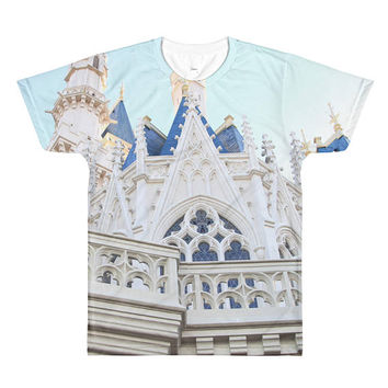 Cinderella's Castle All Over Printed Tee. Magic Kingdom Shirt.