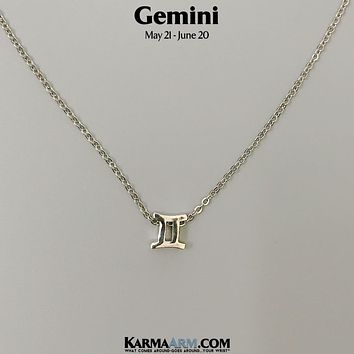 GEMINI | Zodiac | Astrology Collection: 18K White Gold PL | Birth Sign Necklace