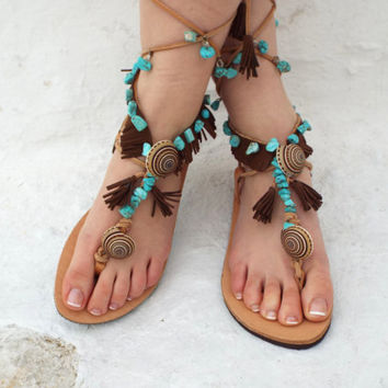 Native America leather Sandals, hippie shoes, Lace Up Sandal, barefoot, Genuine leather shoes, festival sandal, Valentine's gift