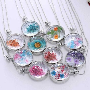 Top Quality 1 Pcs Silver Plated Dried Flowers Plant Specimen Bottle Glass Charms Pendants Necklace Floating Living Locket