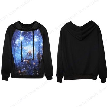 Blue Psychedelic Starry Sky Tracksuit Sportswear Women Space Galaxy Harajuku Sweatshirts Autumn Leisure Hoody Hoodies Black Coat