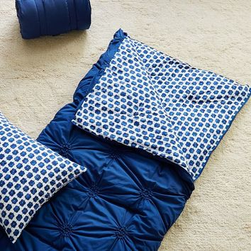 Ruched Rosette Sleeping Bag + Pillowcase, Navy