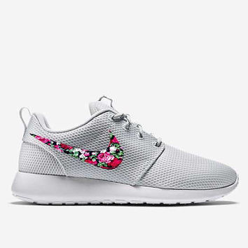 Custom Pure Platinum Floral Roses Nike Roshe Run Shoes Fabric Pattern Men's Women's Birthday Present, Perfect Gift, Customized Nike Shoes