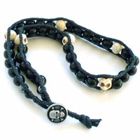 Bone Skulls and Black Agate Halloween Unisex Bracelet or Necklace