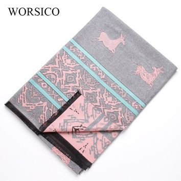 WORSICO Christmas Scarf Women Luxury Brand Shawl Double-sided Design Deer Pattern Winter Warm Long Scarf Gift 190*65cm