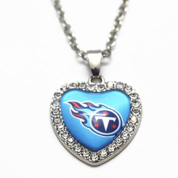 1pcs Crystal Football Tennessee Titans Glass Silver Heart Pendant Necklace 20 Inch Chains Necklace For Women Necklace Jewelry