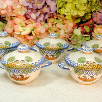 5 Beautiful French Luneville Fainence Lug Handle Covered Bouillon Bowls Cups