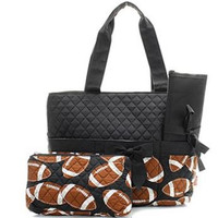Football Diaper Bag with Changing Pad   Zebra Diaper Tote  Boys Quilted Diaper Bag  Girl Diaper Bag  Changing Pad