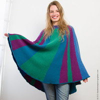 Poncho Blue Green Purple Turquoise Handknitted Womens Fashion Knit Winter Spring Autumn Design Knit