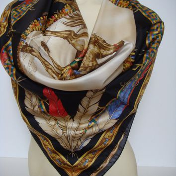 Versace Feathers Tribal Chief on Horse Silk Scarf Black Gold Red 35X35 New Italy