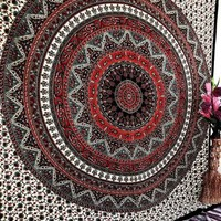 Green Tapestry Bedspread Hippie Star Psychedelic Wall Hanging Decor