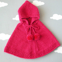 Baby Girl Hoodie / Fuchsia Knit Sweater / Alpaca Hooded Poncho / Little Girl Cape / Custom Sizes / Made To order