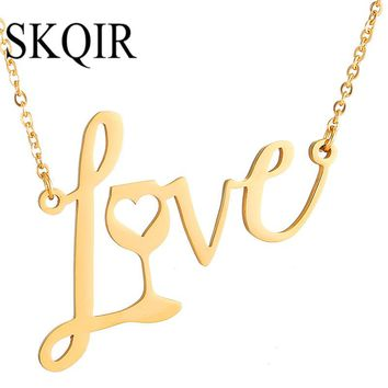 Gold Love Wine Necklace/Pendant