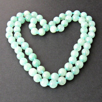 Vintage Chinese Celadon Jade Bead Necklace