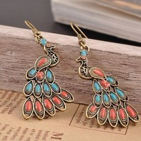 Vintage Multicolor Peacock Dangle Earrings Gofavor