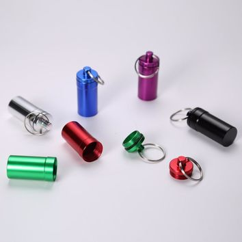 Portable Waterproof Aluminum Alloy Pill Medicine storage Box Case Holder Container Capsule First Aid Key Ring Chain High Quality