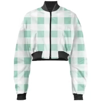 MINT GREEN GINGHAM Cropped Bomber Jacket