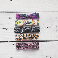 pattern bow hair tie ponytail holders - galaxy tribal aztec polka dot cheetah zebra - stretchy no dent no damage fold over