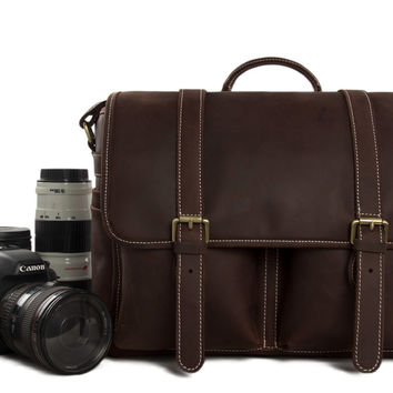 Venice Leather DSLR Camera Bag in Dark Brown
