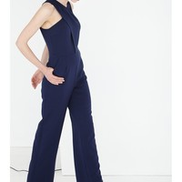 Navy Crossover Neck WIde Leg Jumpsuit | Jumpsuit