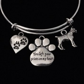 You Left Paw Prints on My Heart Memorial Boxer Dog Adjustable Bracelet Expandable Charm Bangle Meaningful Dog Lover Gift