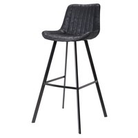 Bastian Fabric Bar Stool (Set of 2) Lustrous Black