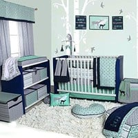 10 Piece Nursery-in-a-Bag Cotton Percale Crib Bedding Set with Bumper Pad, Mint/Navy