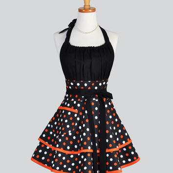 Flirty Chic Apron - Halloween Pumpkin Orange and Black Polka Dots Flirty Cute and Sexy Retro Womens Kitchen Apron