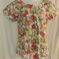 Koi Kathy Peterson Top Size Medium Scrubs Butterfly Print