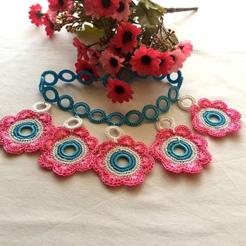Crochet Necklace Blue And Pink Spring Flowers, Boho Turkish Necklace, Valentine's  Day Gift, Fiber Art Jewelry, Turkish Oya