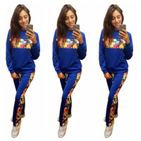Blue with Floral Accent Sweatshirt and Pants Suit