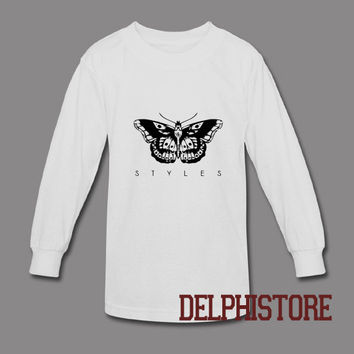 one direction shirt 1D t-shirt harry styles tatto tshirt printed long sleeve white unisex size (DL-100)