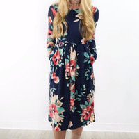 Beverly Drive Navy Pleated Floral Pocket Dress