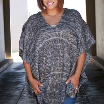 Like The Rain Lace Up Knit Poncho ~ Charcoal ~ Sizes 4-18