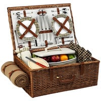 Dorset Basket & Blanket for 4, Brown, Picnic Baskets