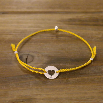 New Handmade Friendship Skinny Thin 100% Silk .9 Mm Thread Cord 925 Genuine Sterling Silver Tiny Round Bead Heart Charm Bracelet Yellow (Anthropologie)